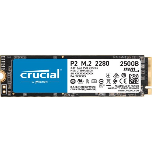 Dysk Twardy SSD CRUCIAL P2 250GB M.2 PCIE NVMe Write speed 1150 MBytes/sec Read speed 2100 MBytes/sec CT250P2Dysk Twardy SSD8