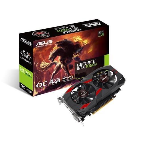 Karta Graficzna ASUS NVIDIA GeForce GTX 1050 TI 4 GB 128 bit PCIE 3.0 16x GDDR5 Memory 7008 MHz GPU 1341 MHz Dual Slot Fansink 1