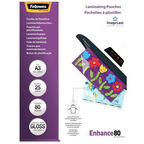 LAMINATOR POUCH IMAGELAST/A3 80 25PCS 5396403 FELLOWES