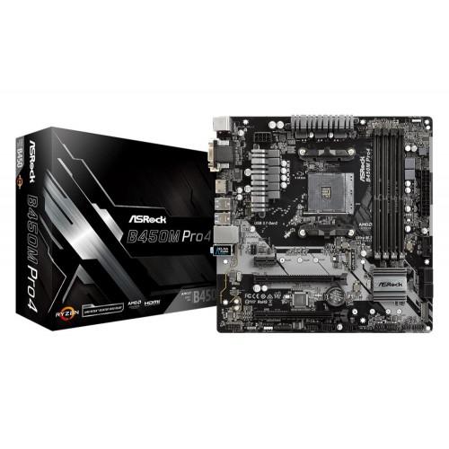 Płyta główna ASROCK AMD B450 SAM4 MicroATX 1xPCI-Express 2.0 1x 2xPCI-Express 2.0 16x 2xPCI-Express 3.0 16x 2xM.2 Memory DDR4