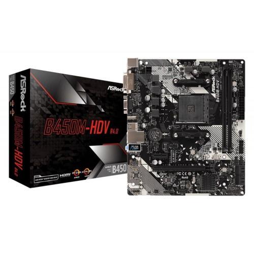 Płyta główna ASROCK AMD B450 SAM4 MicroATX 1xPCI-Express 2.0 1x 1xPCI-Express 3.0 16x 1xM.2 Memory DDR4 Memory slots 2 1x15pi