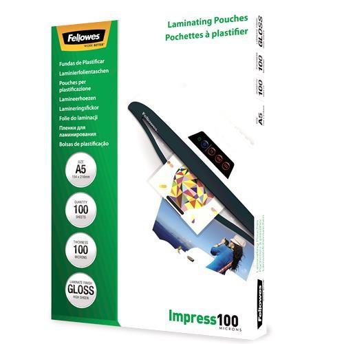 LAMINATOR POUCH GLOSSY/A5 100 100PCS 5351002 FELLOWES