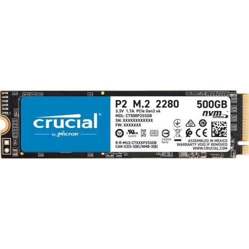 Dysk Twardy SSD CRUCIAL P2 500GB M.2 PCIE NVMe Write speed 940 MBytes/sec Read speed 2300 MBytes/sec CT500P2Dysk Twardy SSD8