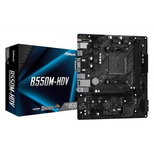 Płyta główna ASROCK AMD B550 SAM4 MicroATX 1xPCI-Express 3.0 1x 1xM.2 1xPCI-Express 4.0 16x Memory DDR4 Memory slots 2 1x15pi